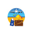 travel symbol with suitcase and passport vector image