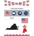 map of virginia set of flat design icons vector image