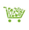 Shopping cart fruit vector image