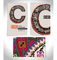 Ancient Business card design LETTER C vector image