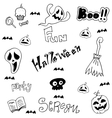 Collection doodle halloween flat vector image