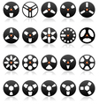 Analog stereo tape reels icon set vector image