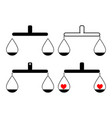 balance or libra set one item with heart black vector image