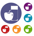 glass of drink and apple icons set vector image