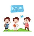 happy boys characters outdoor activity vector image