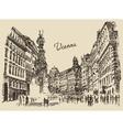 Streets in Vienna Austria hand drawn vector image