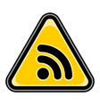 wi-fi signal icon or rss sign triangular sticker vector image