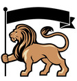 lion mascot hold a flag vector image vector image