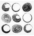 set of grunge circle brush strokes vector image