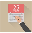 Businessman hands mark on the calendar vector image