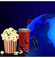 Popcorn and movie film vector image