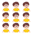 boy faces showing different emotions vector image