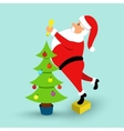 Cartoon Santa Claus and green Christmas tree vector image