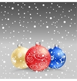 Christmas baubles gray bk vector image