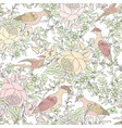 Flowers and birds floral seamless background vector image