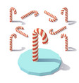 low poly christmas candy cane vector image