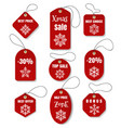 red christmas holidays tags vector image