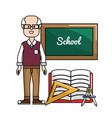 teacher with board triangle rule and compass vector image