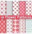 Different flower seamless patterns tiling vector image vector image