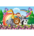 A group of animals at the hilltop with a rainbow vector image vector image