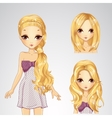 Beautiful Girl And Collection Of Hairstyles vector image