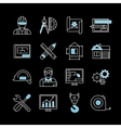 Blueprint White Blue Linear Icons vector image