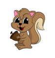 Cartoon of a cute squirrel with nut vector image