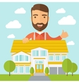 Man at the back of house structure plan vector image