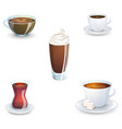 set of delicious hot drinks coffee tea a vector image