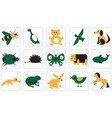 icons for geometric animals insects and birds vector image