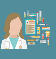 Medicine concept in modern flat design style with vector image