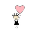 Saint valentine day - cute girl holding heart vector image