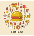 Fast Food Line Art Thin Icons Set with Burger vector image vector image