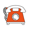 color silhouette cartoon retro telephone with cord vector image