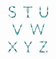 technical robot font letters from s to z vector image