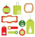 red and green Christmas tags vector image