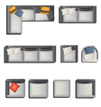 Furniture top view view set 6 vector image