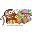 Cartoon of a Cream Puff holding a cone with a vector image vector image