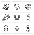 Set of Mongol Tatar Yoke Icons Asian vector image