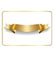 Gold satin ribbon on white vector image