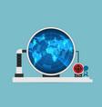 businessman use digital radar to scan man symbols vector image