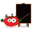 Funny tomato and a blackboard vector image