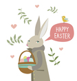 Happy Easter card with rabbit vector image