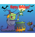 Happy Holidays Greeting Over A Witch vector image