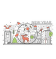 holiday christmas and new year concept line banner vector image