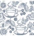 ink hand drawn tea seamless pattern vector image