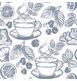 ink hand drawn tea seamless pattern vector image
