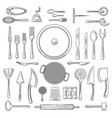 kitchen utensils or kitchenware sketch vector image