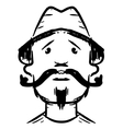 Man face with mustaches vector image vector image