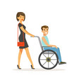 disabled young man in wheelchair smiling female vector image